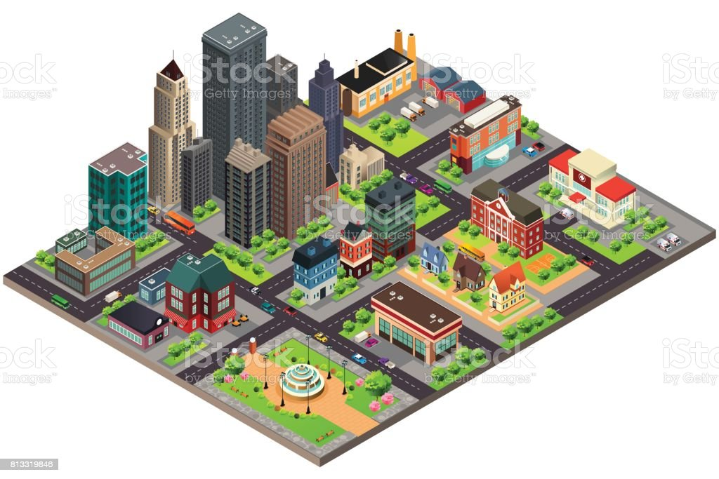 Isometric Design of City Streets and Buildings vector art illustration
