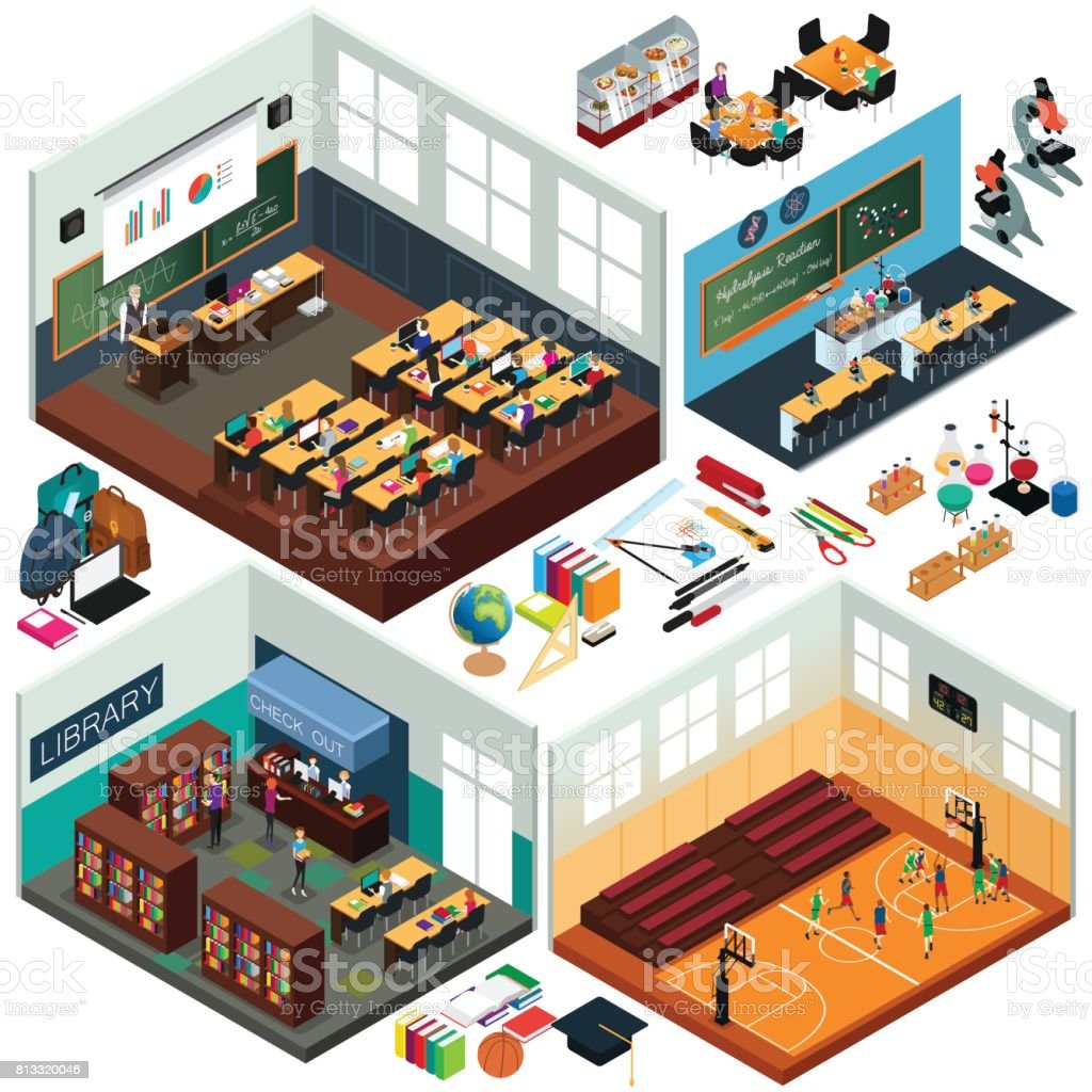 Isometric Design of School Buildings and Classrooms vector art illustration
