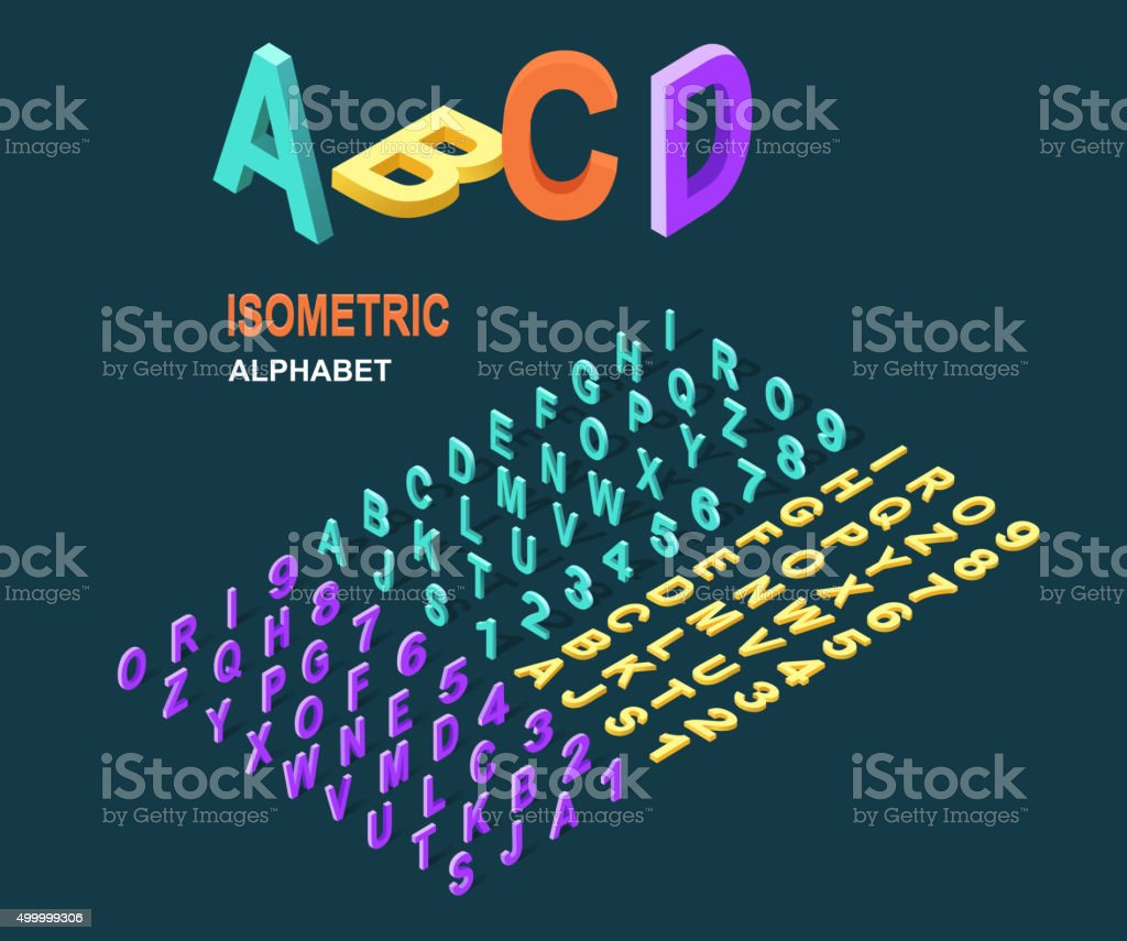 Isometric Design Style Alphabet vector art illustration