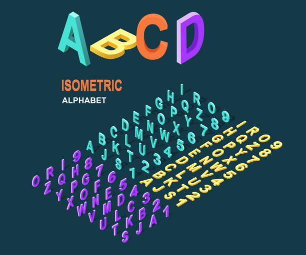 alfabet design w stylu isometric - dane finansowe stock illustrations