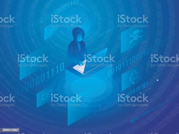Isometric Design With Hacker Using Laptop For Personal Data Protection Or Hacking Concept — стоковая векторная графика и другие изображения на тему Безопасность