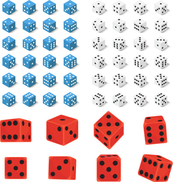 isometric dice number lucky game fortune casino variants loss gamble cube vector illustration - dice stock illustrations, clip art, cartoons, & icons