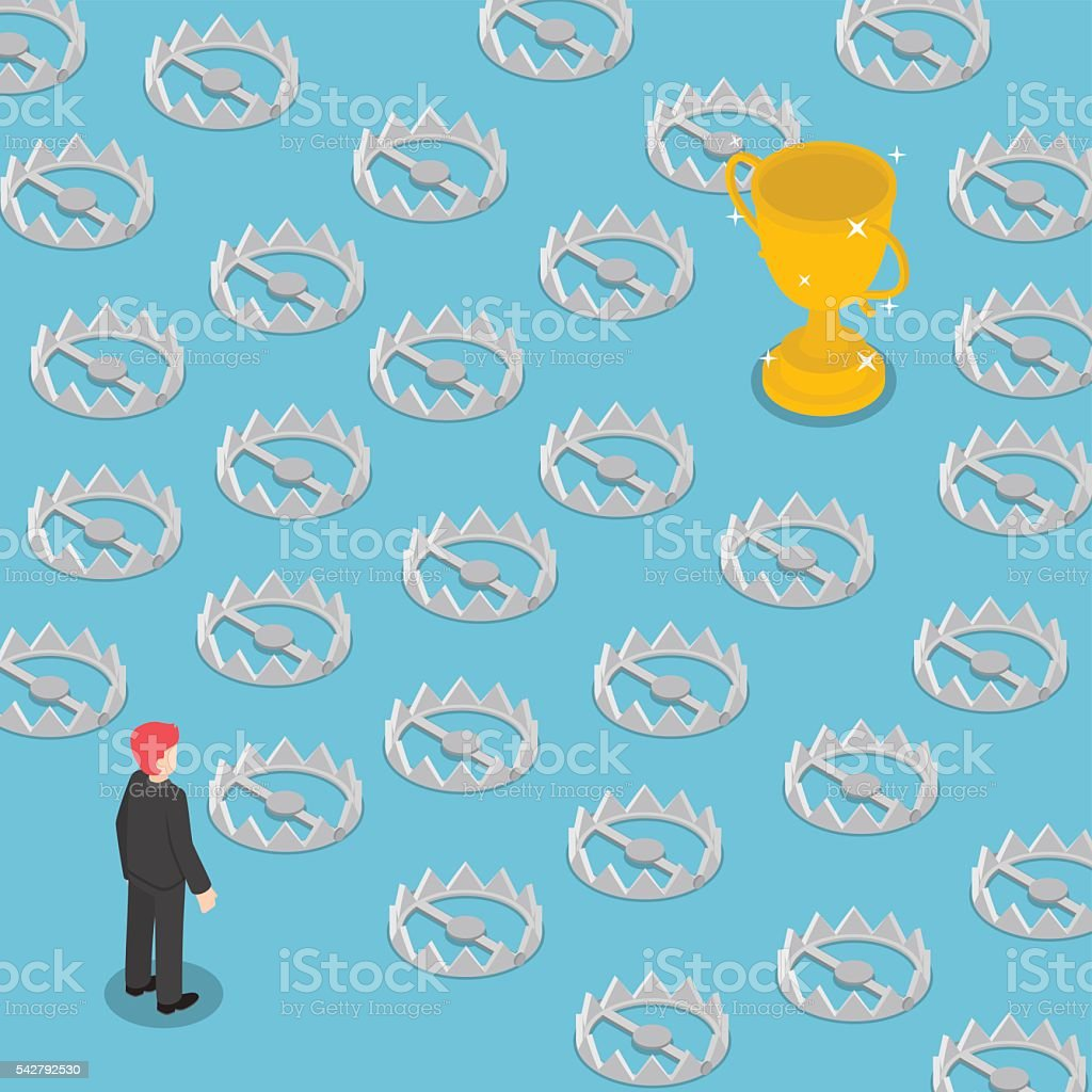 Isometric difficult path to success full of traps vector art illustration