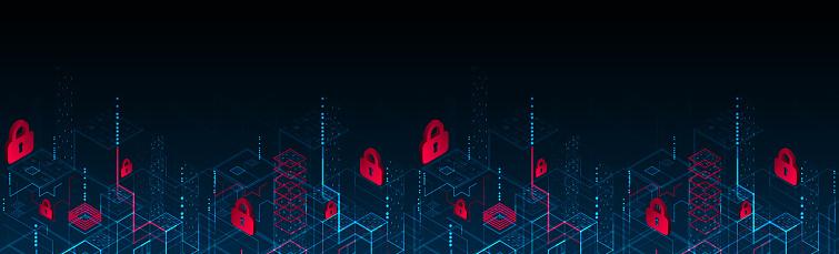 Isometric digital padlock. Abstract technology background. Vector illustration