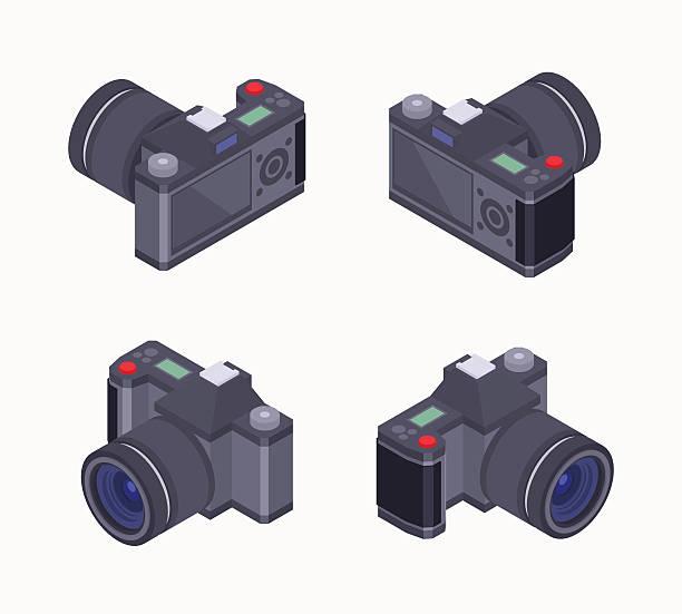 stockillustraties, clipart, cartoons en iconen met isometric digital photo camera - spiegelreflexcamera