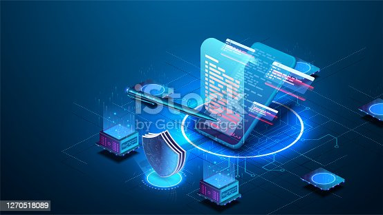 istock Isometric digital signature concept with phone and pen. Mobile document manager or e-signature business concept vector isometric illustration. Blockchain or Smart Contract landing page design. 1270518089