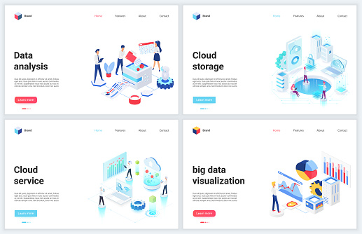 Isometric digital technology of big data analysis vector illustrations, concept banner set for database cloud storage services, analyzing and storing tech information