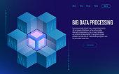 Isometric digital technology web banner. Analysis and Information. Big data access storage distribution information management and analysis. Vector illustration