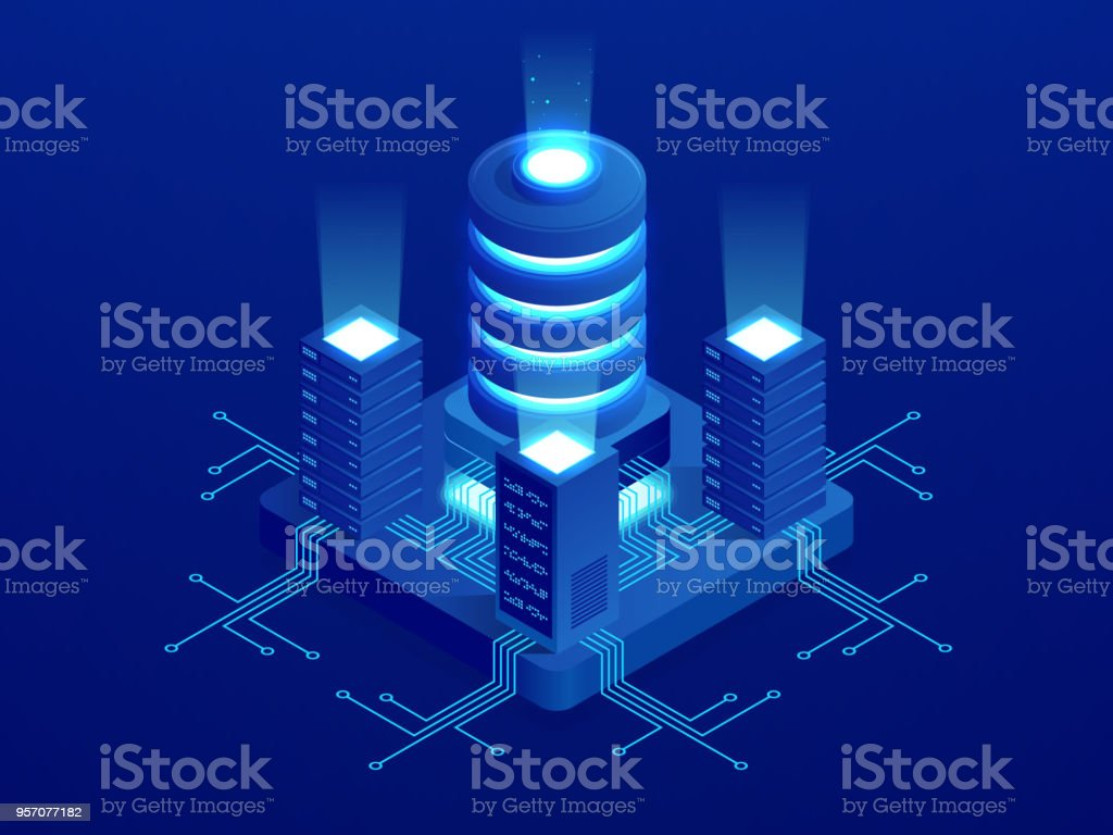 Isometric Digital Technology Web Banner Big Data Machine Learning Circuit Board And Binary Code Stock Vector Clipart Transmission Of Algorithms Analysis Information
