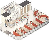 People sit in an isometric diner restaurant in this detailed cutaway illustration.