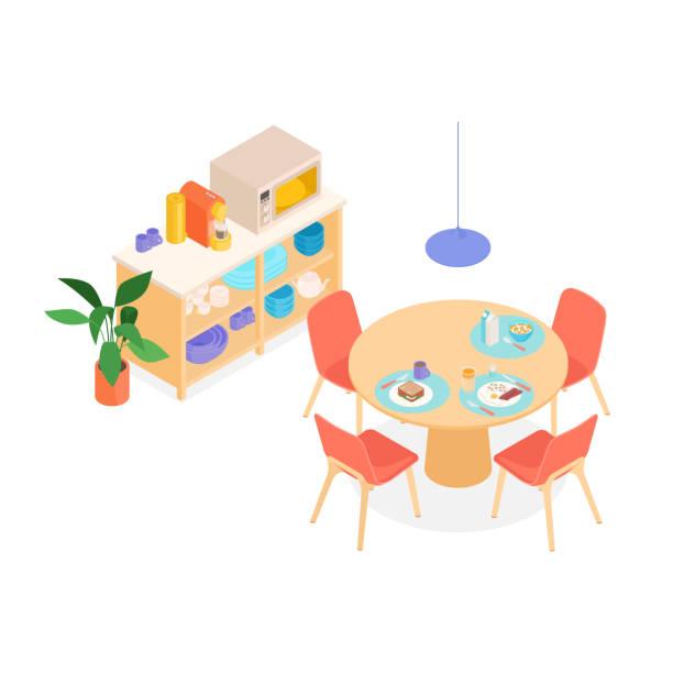 stockillustraties, clipart, cartoons en iconen met isometrische dinning ruimte - breakfast table