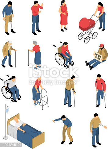Isometric disable people set of isolated colourful images with human characters of people with impaired mobility vector illustration