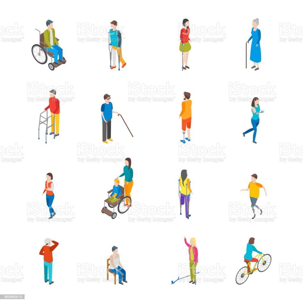Jeu d'icônes de personnages handicapés isométrique. Vector - Illustration vectorielle