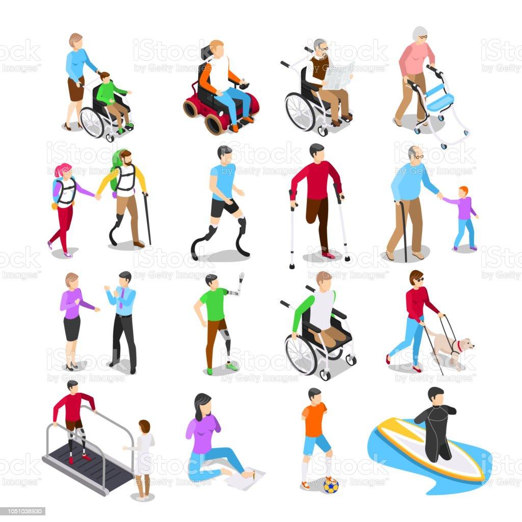 Personas con discapacidad isométrica. Atención de la discapacidad, discapacitados ancianos senior en silla de ruedas y extremidad protésica vector set ilustración de personas con discapacidad isométrica atención de la discapacidad discapacitados ancianos senior en silla de ruedas y extremidad protésica vector set y más vectores libres de derechos de adulto libre de derechos