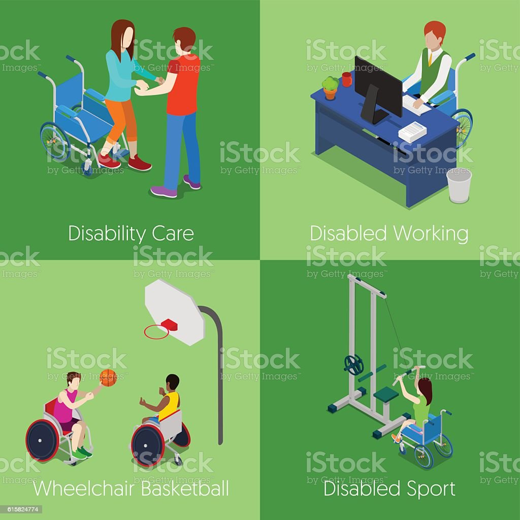 Isometric Disabled People. Disability Care, Wheelchair Basketball, Disabled Sport ベクターアートイラスト