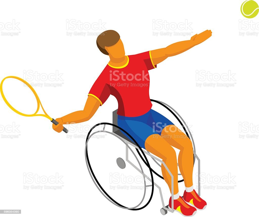 Isometric disabled tennis player isolated on white background royalty-free isometric disabled tennis player isolated on white background stock vector art & more images of adult