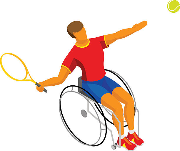 isometric disabled tennis player isolated on white background - 車椅子スポーツ点のイラスト素材/クリップアート素材/マンガ素材/アイコン素材