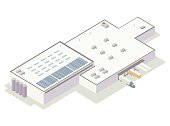 Large warehouse and distribution center includes truck bay with trailers, tanks, and solar panels on the roof. Building is seen from an aerial isometric perspective. Illustration will include high quality jpeg and vector eps files.