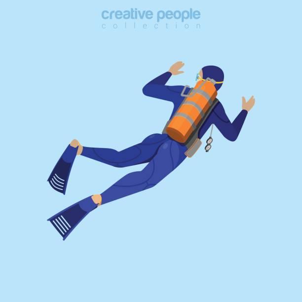illustrazioni stock, clip art, cartoni animati e icone di tendenza di isometric diver in aqualung back view. flat 3d isometry style. creative people collection. - frogman
