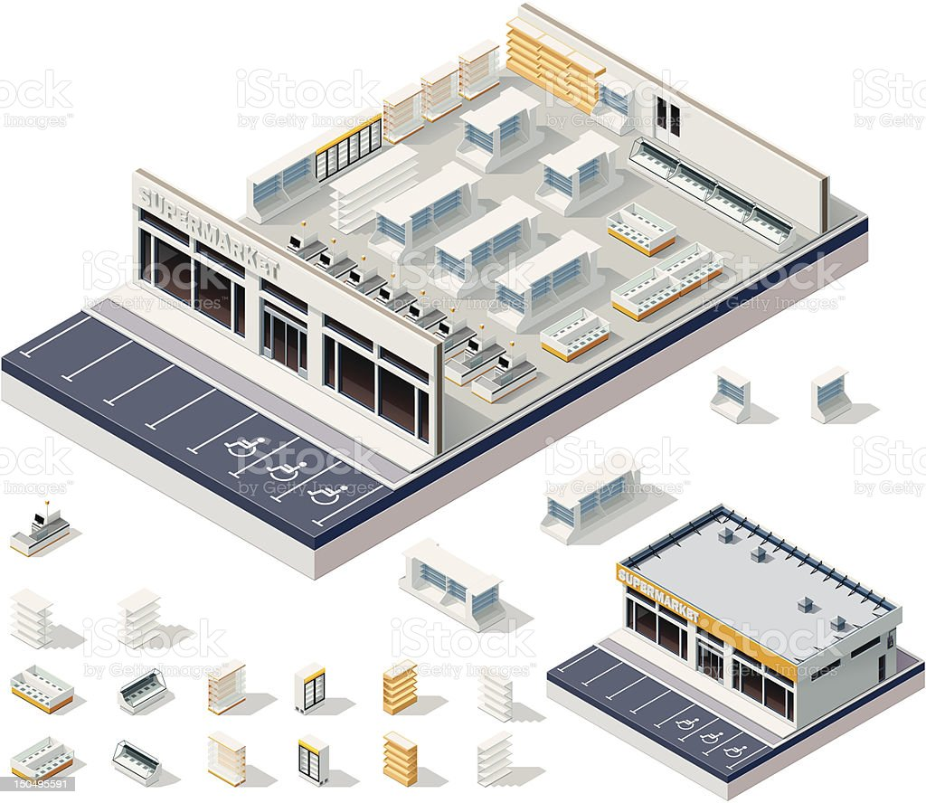 Isometric DIY supermarket interior plan vector art illustration