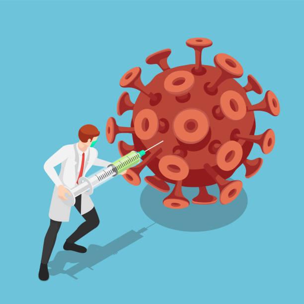 illustrations, cliparts, dessins animés et icônes de médecin isométrique transportant gros vaccin injectable de seringue au virus covic-19 ou coronavirus - vaccin covid