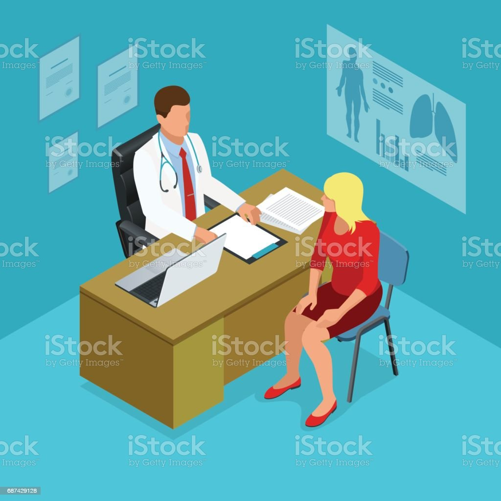 Isometric doctor showing something patient on tablet pc in hospital. Male doctor talking with female patient in doctors office. Healthcare, medical and technology. vector art illustration