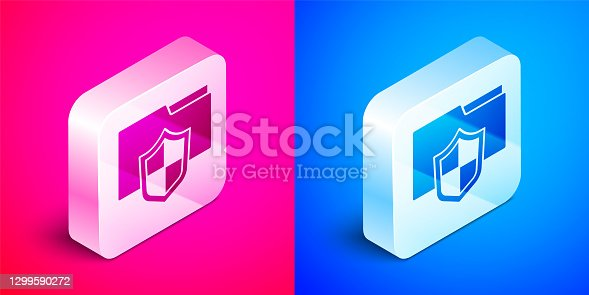 istock Isometric Document folder protection concept icon isolated on pink and blue background. Confidential information and privacy idea, guard, shield. Silver square button. Vector 1299590272
