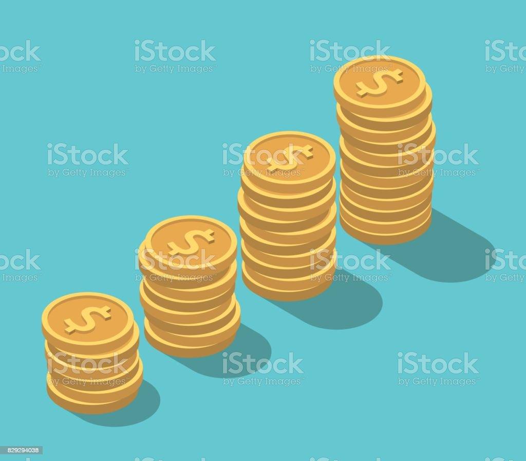 Isometric dollar coins stacks vector art illustration
