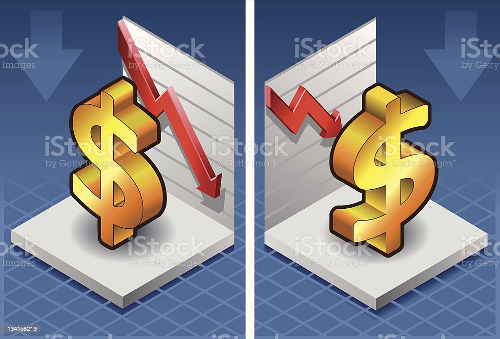isometric dollar with red arrow down royalty-free stock vector art