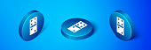 Isometric Domino icon isolated on blue background. Blue circle button. Vector Illustration