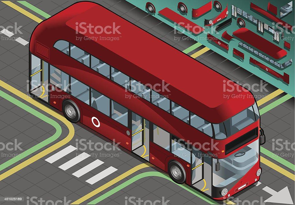 Isometric Double Decker Bus with Open Doors in Front View royalty-free stock vector art