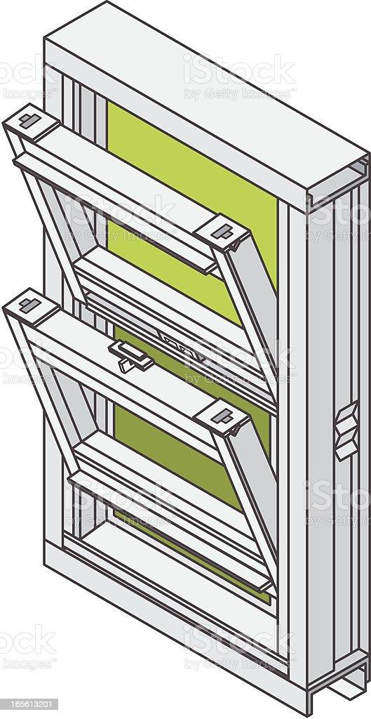 Isometric Double Hung Window royalty-free stock vector art