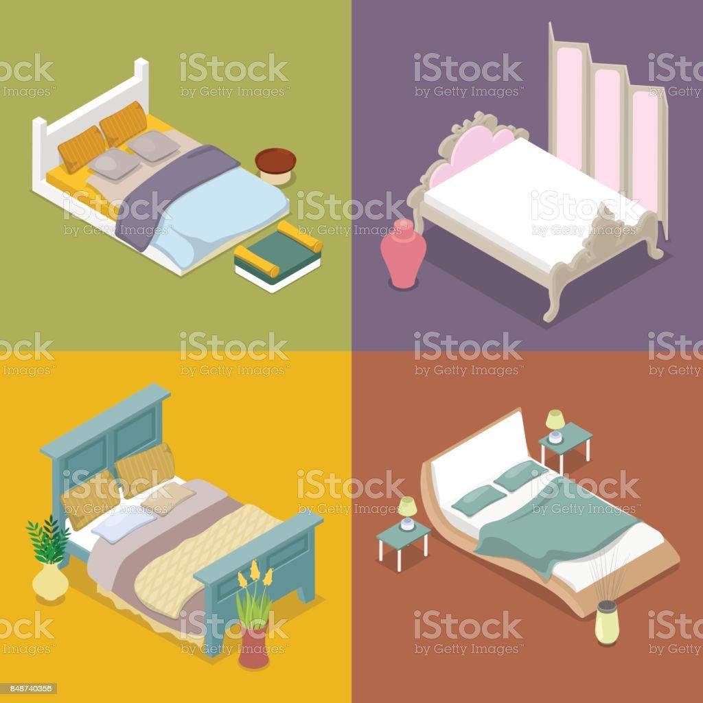 Isométrique Double King Size Bed Mobilier De Chambre ...