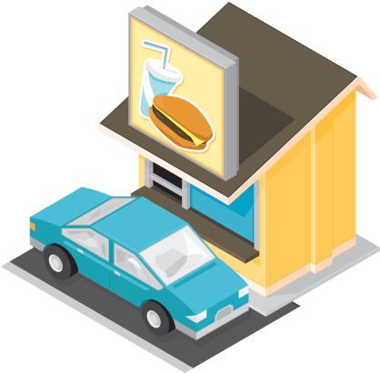Isometric Drive Through Restaurant.