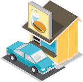 A vector illustration of an isometric Drive Through Restaurant with car waiting for service.