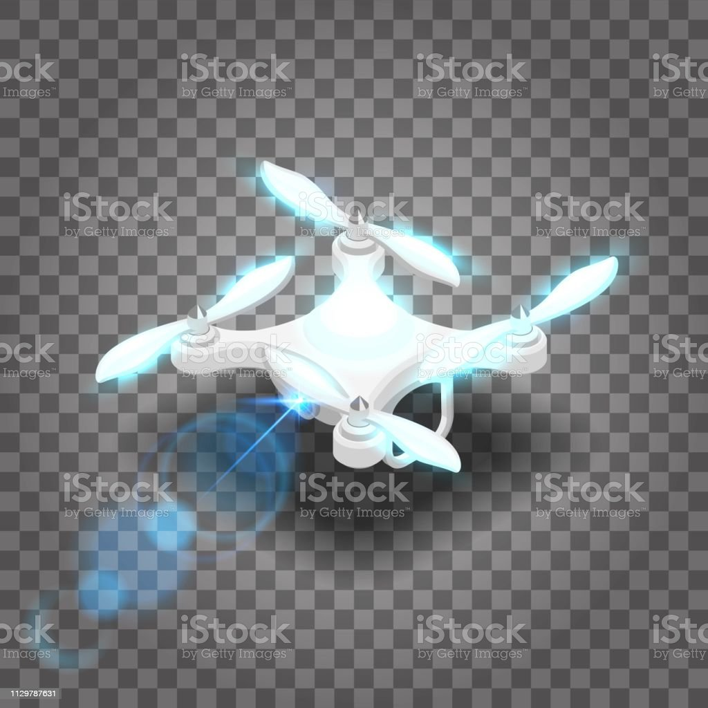 Isometric drone quadrocopter 3D, fly on the radio. Drone camera for...