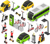 Eco transport isometric set with electric car scooter bicycle segway gyro isolated decorative icons vector illustration