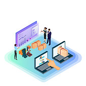 Isometric e-commerce and online shopping concept. Customer management, shopping via laptop computer, CRM, background analysis, delivery for internet shopping.