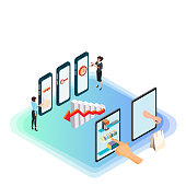 Isometric e-commerce and online shopping concept. Customer management, shopping via digital tablet, online customer service, crm, background analysis, mobile management and delivery for internet shopping.