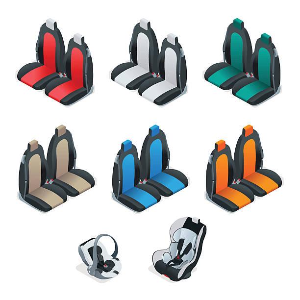 isometric editable automotive collection - fahrzeugsitz stock-grafiken, -clipart, -cartoons und -symbole