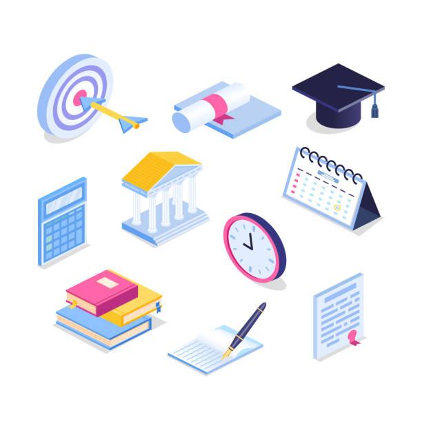 Isometric education icon set. 3d graduation vector illustration. Book, calendar, notebook, graduation cap, goa vector art illustration