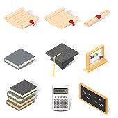 Isometric Education Icons