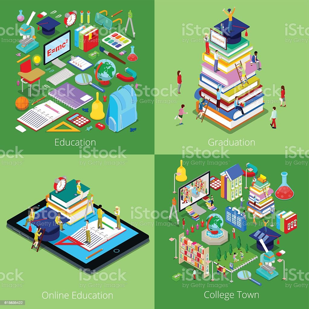 Isometric Educational Concept. College Graduation, Online Education and Students vector art illustration