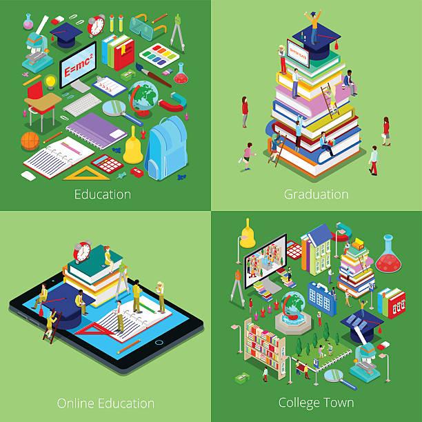 bildbanksillustrationer, clip art samt tecknat material och ikoner med isometric educational concept. college graduation, online education and students - digital device classroom