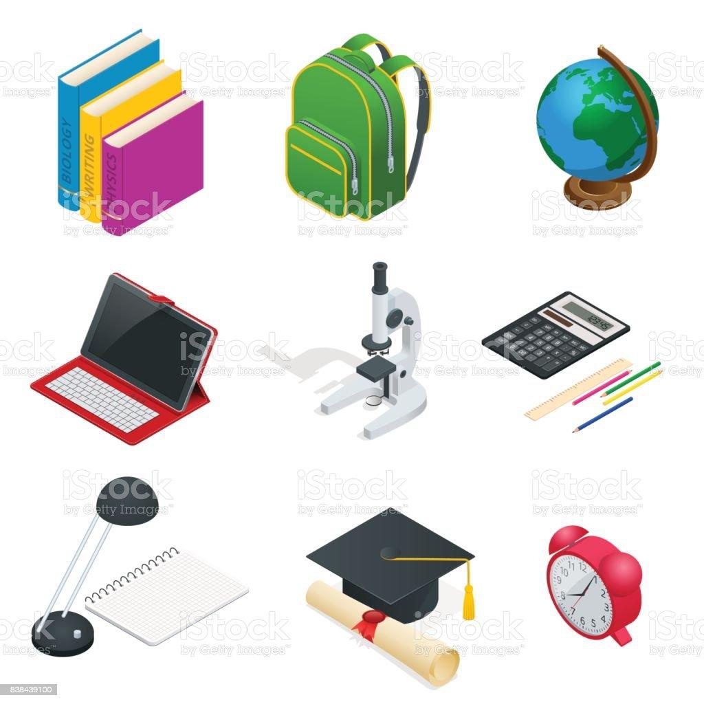 Conceito educacional isométrico. Livro aberto do conhecimento, volta para a escola, diferentes fontes educacionais podem ser usadas para layout de fluxo de trabalho, bandeira, diagrama, número opções, web design e Infografia. - ilustração de arte em vetor