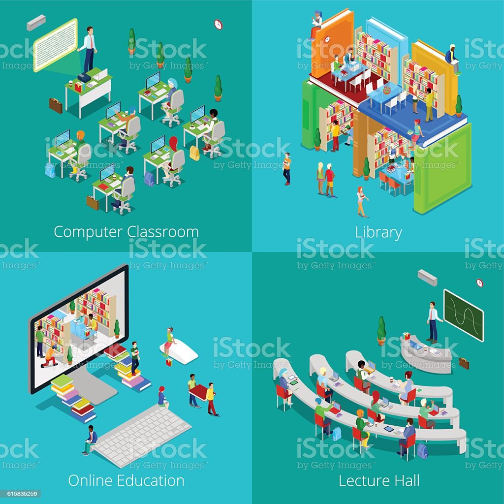 Isometric Educational Concept. University Computer Classroom, Online Education, Library vector art illustration