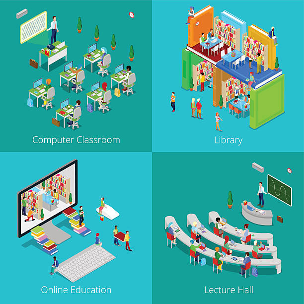 Isometric Educational Concept. University Computer Classroom, Online Education, Library - ilustración de arte vectorial