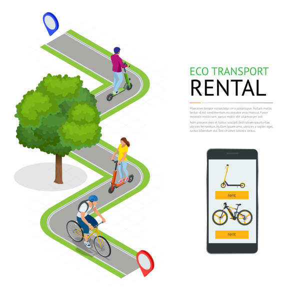 illustrazioni stock, clip art, cartoni animati e icone di tendenza di isometric electric scooters and bike for rent at station and cashier machine for payment. mobile application on the phone for renting a scooter in the city. urban transportation. modern technologies. - monopattino elettrico