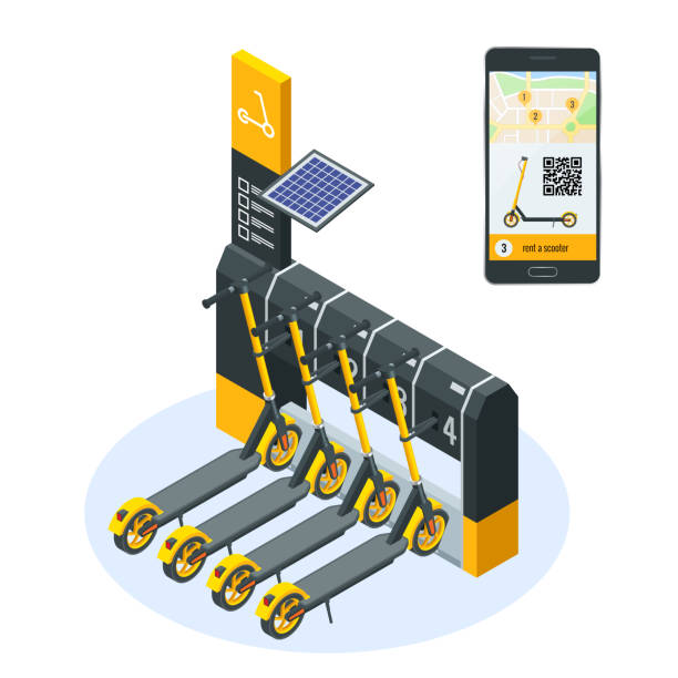illustrazioni stock, clip art, cartoni animati e icone di tendenza di isometric electric scooters for rent at station and cashier machine for payment. mobile application on the phone for renting a scooter in the city. urban transportation. modern technologies. - monopattino elettrico