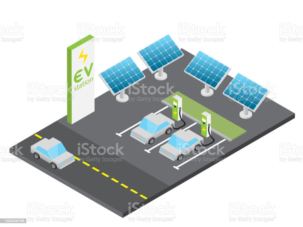 Isometric electric vehicle charging station with solar power concept vector art illustration